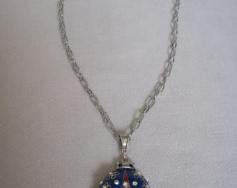 Red, White n Blue Independence Day Lady Bug Pendant Necklace