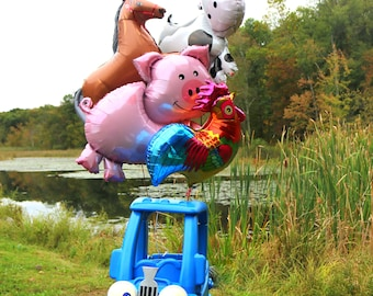 4 Jumbo Farm Animal Balloons - Horse Pig Cow Rooster - For Little Truck Party - Mylar Balloon Shower or Birthday Party Decoration Blue