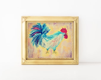 Rooster Folk Art-Home Decor-Rooster Painting-Rooster Print-Kitchen Painting Print-Acrylic Art Print-Colorful Rooster