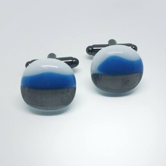 Blue, Pewter and White Glass Cufflinks