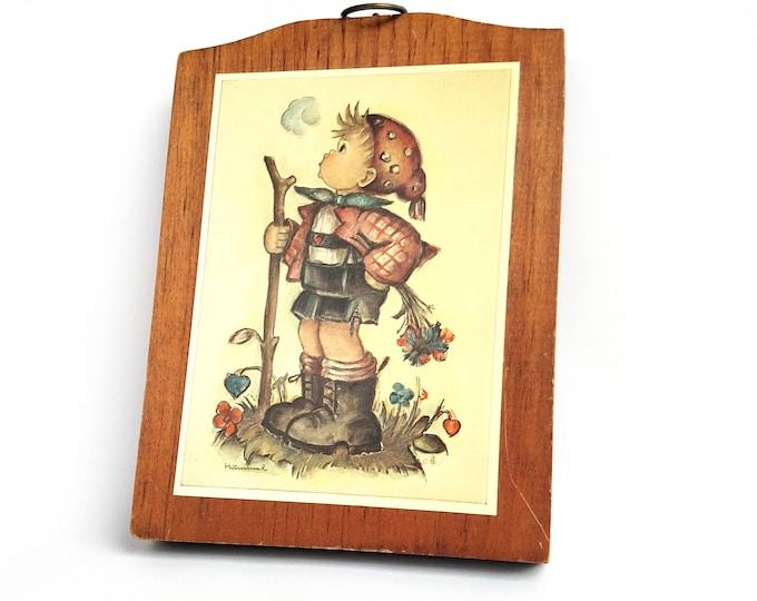 Vintage Hummel Illustration of Boy with Walking Stick Mounted On Wood