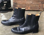 8.5 B | Women's 1990's Lands' End Chelsea Boots with Cap Toes in Black Leather