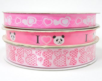 3/8 in 5/8 in Pink Valentine's Day Ribbon, I Love Panda Ribbon, Pink Grosgrain Ribbon with White Hearts, 3 yards Pink Heart Ribbon