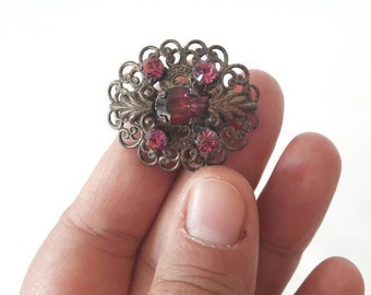 Vintage Brass Brooch with Pink Burgundy Rhinestones