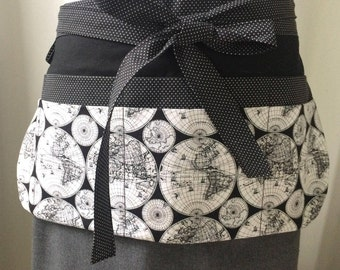 Utility Apron/Teacher Apron with 8 pockets and loop in black white globes countries