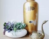 Chinoiserie Gold Leaf Laquerware Hand Painted Asian Koi Fish Vase