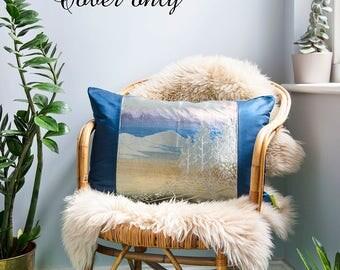 Indigo Throw Pillow Cover, Navy Pillow Sham, Japanese Cushion Cover, Blue Velvet Cushion Cover, Mountains Trees Upcycled Vintage Kimono Silk