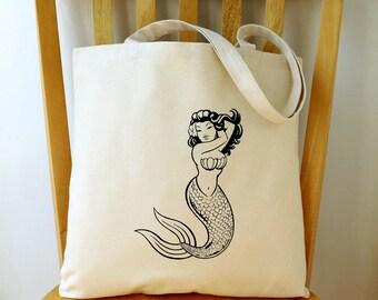 Mermaid Canvas Tote Bag Beach Bag Gift for Women