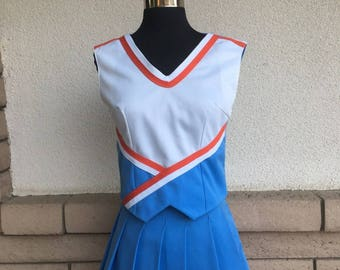 Vintage 90s Cheer Uniform Costume 3 Pieces Blue & Orange XS
