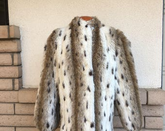 Vintage Faux Fur Coat 80s Animal Print Jacket Size Large