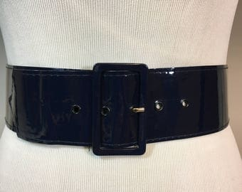 Vintage Navy Blue Patent Leather Wide Belt, Dark Blue Wide Belt, 2 & 3/8 Inches Wide 33 Inches Long Buckle is 2.75 Inches Wide