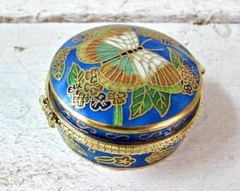 Vintage Trinket Box, Butterfly Jewelry Box, Blue Ring Box, Cloisonne Enamel, Chinese Art, Asian Decor, 1960s Decor, Vintage Figurines
