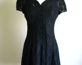 vintage 1990s black lace babydoll skater dress size M