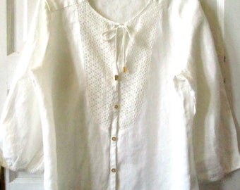 White Linen Blouse, L