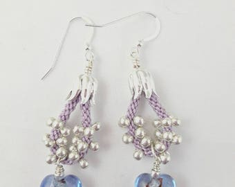 MURANO BLUE GLASS Heart Earrrings with Silver Foil Inside Hanging from Kumihimo Rope