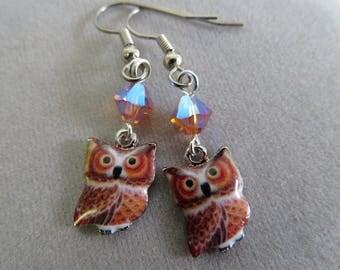 Owl and Swarovski Crystal Earrings