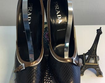 Prada Reptile Brown & Two Tone Trim with Buckle Accent High Heel Pump  Size 7 1/2M