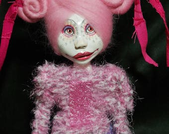 ooak art doll, pink