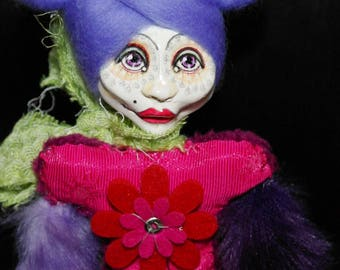 ooak art doll, pink, violet