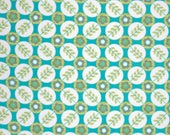 WIDE LAMINATED cotton fabric by yard - sold by the 1/2 yard - Floradots turquoise aqua - La Dee Da - BPA free - diy tablecloth apron bag mat
