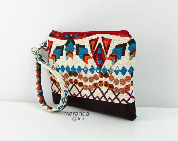 Flat Clutch Large Aztec Red PU Chocolate Brown Leather READY to SHIp