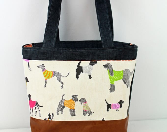 Lulu Large Tote Diaper Bag Pups with Granite Denim Exterior Pockets READY to SHIP