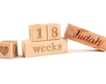 photography prop age blocks - wooden blocks to document baby's age with optional personalized block, newborn photo prop