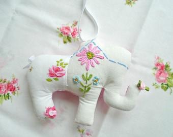 Sweet Little Elephant Pillow / Hanging Elephant Pillow / Fabric Elephant / Elephant Holding Pink Rose / Baby Nursery Decor / Shabby Elephant