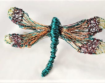 Dragonfly jewelry Dragonfly brooch Wire sculpture Nature inspired art jewelry Large brooch Modern hippie Turquoise copper Winter gift girl