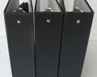 vintage notebooks, 3 ring binders, journals, group of 3, black, from Diz Has Neat Stuff