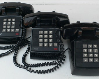 vintage telephones, pushbutton,group of three,streamline desk model, black, from Diz Has Neat Stuff