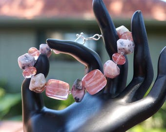 Peruvian Opal with Cherry Quartz Bracelet