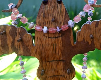Long Peruvian Opal and Cherry Quartz Necklace