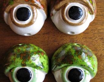 2 Pairs Vintage Macrame Ceramic Eye Beads