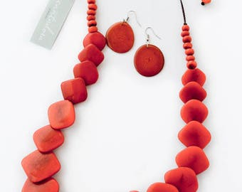 Burnt Orange Natural Tagua Squares Necklace and Earrings