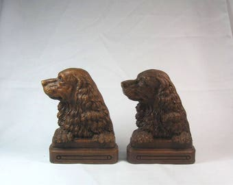 Vintage Pair of English Springer Spaniel Dog Syroco Wood Composition Bookends Library Desk Bookshelf Decoration