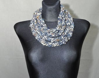 Infinity Scarf in Grey, Gray Knit Infinity Scarf, Rope Scarf, Skinny Scarf, Circle Scarf,
