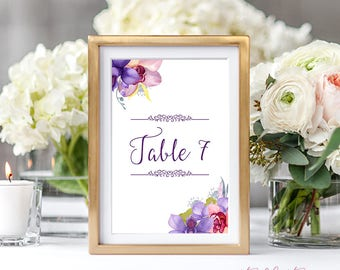 Reception Table Numbers, Printed Table Signs, Wedding Reception - Wild Orchids (Style 13746)