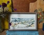 Vintage Great Smoky Mountain Handmade Crewel Embroidery Framed Art Wall Hanging Handmade Textile from 1984
