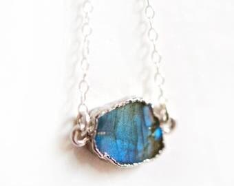 Labradorite Necklace, Silver Labradorite Necklace, Silver Dipped Necklace, Sterling Silver Labradorite Pendant, Everyday Necklace