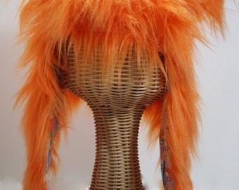 sdFRINGE Fuzzy Hat: Monster Aviator hat;  FRINGE mascot hat; sdFRINGE orange; earflap Fringe hat; Custom Orange hat; San Diego Fringe