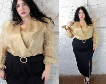Plus Size Vintage 1980's Gold and Black Evening Dress - Size 2X