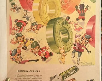 Vintage 1943 Lifesavers Gremlin Ad w/ Walt Disney Illustration World War II