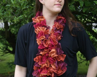 Ruffled Scarf Shades of Oranges and Browns Fashion Scarf, Color Red Heart Salsa, bola scarf, fall scarf