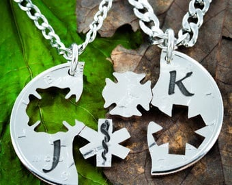 Firefighter and Medical Couples Necklaces, Custom initials engraved, Firemen, Doctors and Nurses, Star of life and Maltese Cross Cut Coin