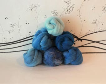 Wooly Buns wool roving assortment, 6 piece hand dyed fiber, needle felting supplies in Blue Bells, 1.5 oz ombre, graduated