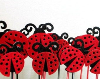 Ladybug Cupcake Toppers Cake Topper Ladybugs Birthday Favors Party Favors Baby Shower Decorations Baby Shower Favors Cake Decorating