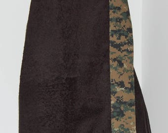 Monogrammed Terry Cloth Towel Wrap with a Camouflage Trim