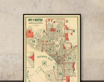 Seattle map - Vintage map of Seattle - Print