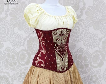 "Steampunk Steel Boned Long Line Underbust Corset, Solid Front - Burgundy, Ivory, & Gold - Corset Size 24, Best Fits Waist 27""-29"""
